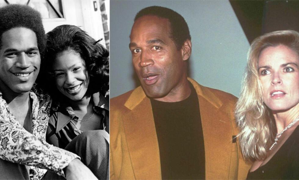 DEN GANG DA: O.J. Simpson giftet seg for første gang i 1967, med Marguerite Whitley. Ekteskapet varte i tolv år. På bildet til venstre er de to avbildet sammen i 1973. Til høyre er O.J. Simpson med sin andre kone, Nicole Brown, som ble brutalt drept i 1994. Foto: NTB Scanpix