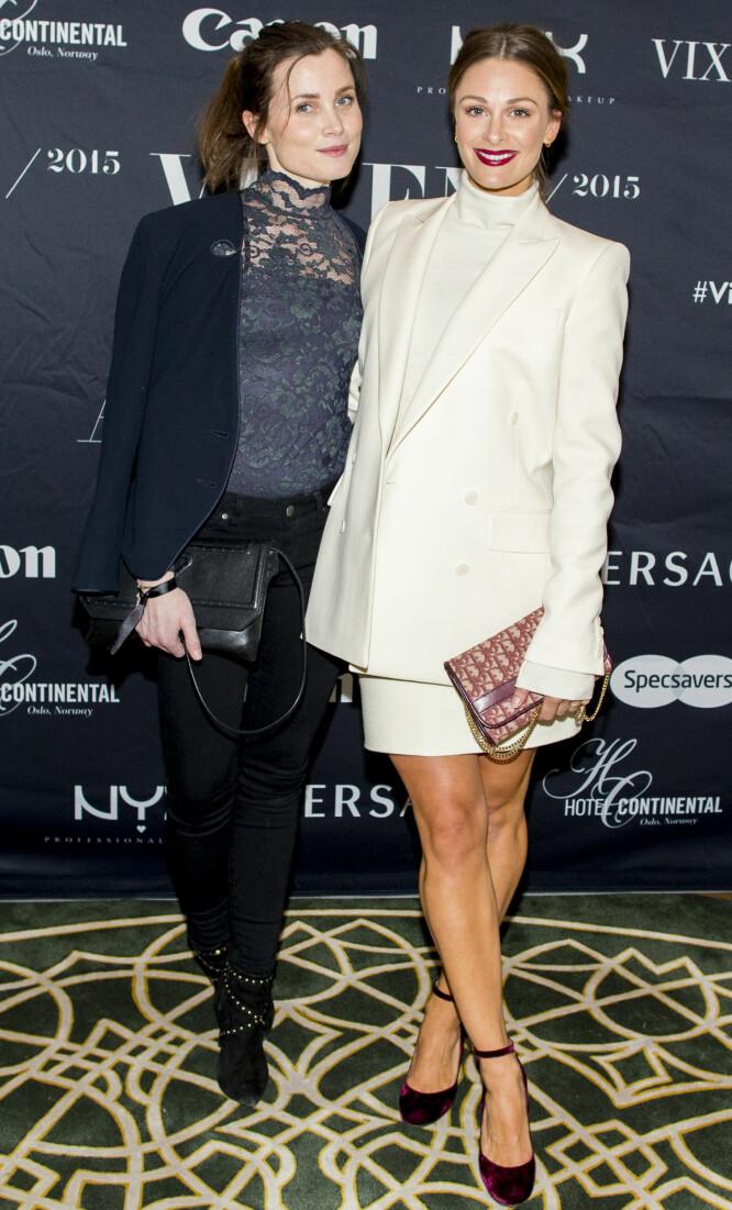 GODE VENNINNER: Gitte Witt sammen med Jenny Skavlan (t.h.) på Vixen Blog Awards i 2016. Foto: Vegard Wivestad Grøtt / NTB scanpix
