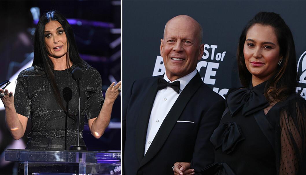 <strong>HARSELERTE:</strong> Lørdag kveld ble det arrangert en Bruce Willis-«roast» på Comedy Central i Los Angeles. Mange sperret opp øynene da ekskona til kveldens hovedgjest plutselig sto på scenen. Fra venstre: Demi Moore, Bruce Willis og sistnevntes kone, Emma Heming. Foto: NTB Scanpix