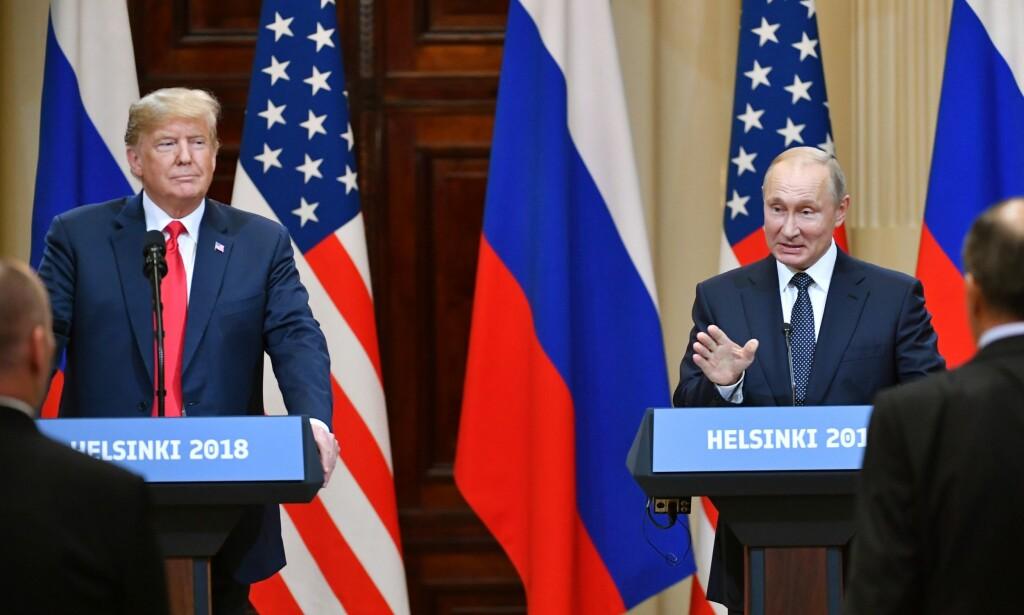 HELSINGFORS: Donald Trump og Vladimir Putin på pressekonferansen mandag. Foto: AFP PHOTO / Yuri KADOBNOV