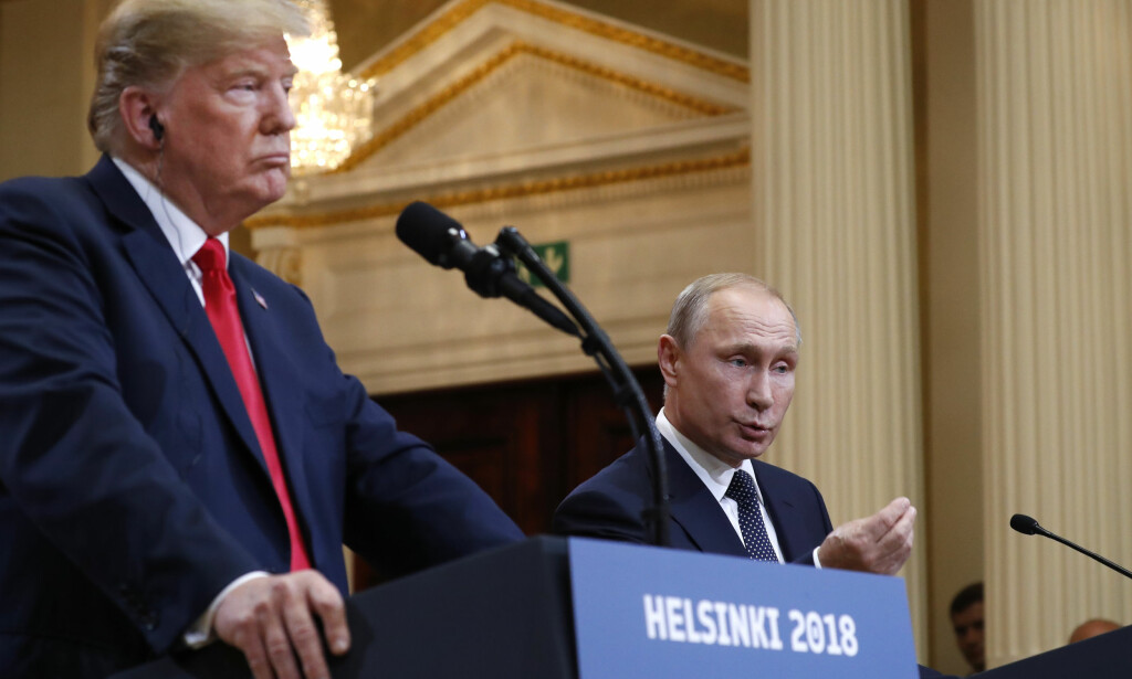 HELSINKI: USAs president Donald Trump og Russlands president Vladimir Putin under en pressekonferanse i Helsinki mandag. Foto: AP / Pablo Martinez Monsivais / NTB scanpix
