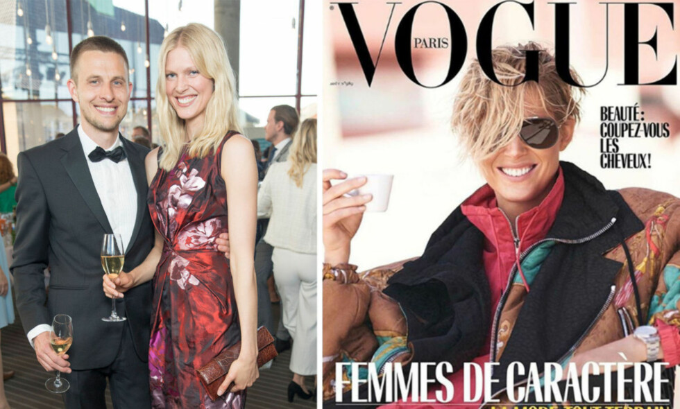MODELL: Iselin Steiro, her med mannen Anders Danielsen Lie, har prydet en rekke Vogue-forsider og er nå aktuell på forsiden av den ultimate motebibelen, Vogue Paris. Foto: Espen Solli/ Se og Hør/ Faksimile fra Vogue
