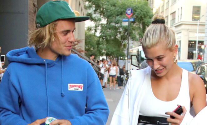 <strong>NYFORLOVET:</strong> Justin Bieber og Hailey Baldwin forlovet seg nylig. Foto: NTB Scanpix
