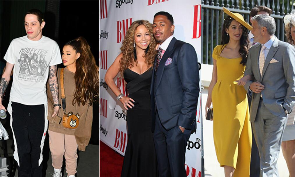 <strong>RASKE PÅ AVTREKKEREN:</strong> I tillegg til Ariana Grande og Pete Davidson, er det flere kjendiser som har forlovet seg kort tid etter at de møttes. Foto: NTB Scanpix