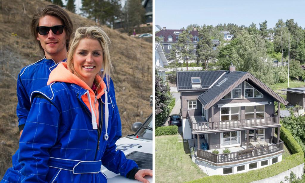 DRØMMEBOLIG: I fjor kjøpte Therese Johaug og kjæresten Nils Jakob Hoff en villa i Holmenkollen til omtrent 19 millioner kroner (t.h.). Her er paret avbildet i forbindelse med lanseringen av BBC Brit i Norge, i april 2015. Foto: BBC Brit/ Tor Lindseth, Se og Hør