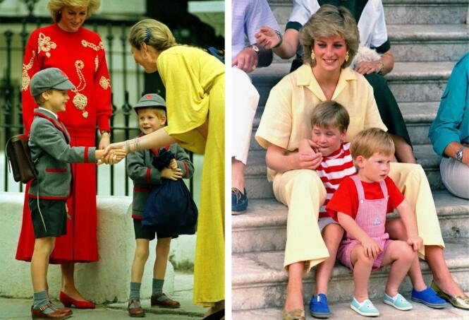 BESKYTTENDE MOR: Prinsesse Diana elsket sine to sønner overalt i verden, og var den som bestemte hva de to guttene skulle hete. Her fra en sommerferie på Mallorca i 1987 (høyre) og under prins Harrys første skoledag i 1989. FOTO: NTB Scanpix