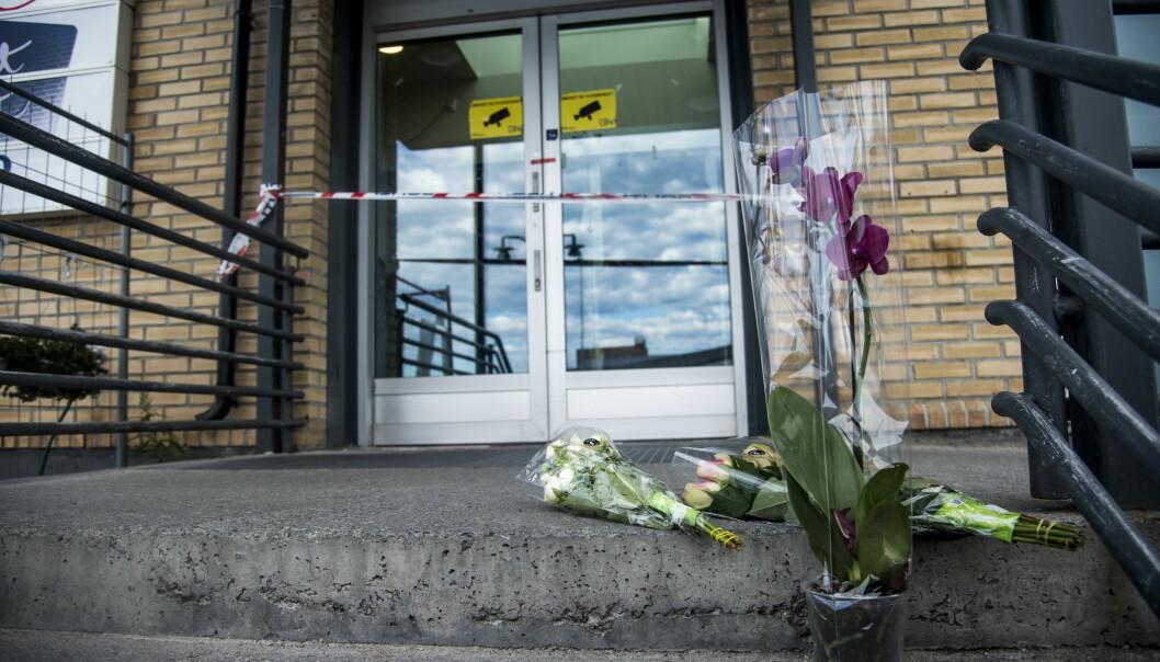 JOBBET HER: Hele hendelsesforløpet er fanget opp på video, og skal vise tiltalte ankommer Coop Byggmix i Vadsø, utføre drapshandlingen og løpet fra stedet med kniven i hånda. Foto: Andreas Lekang / Dagbladet