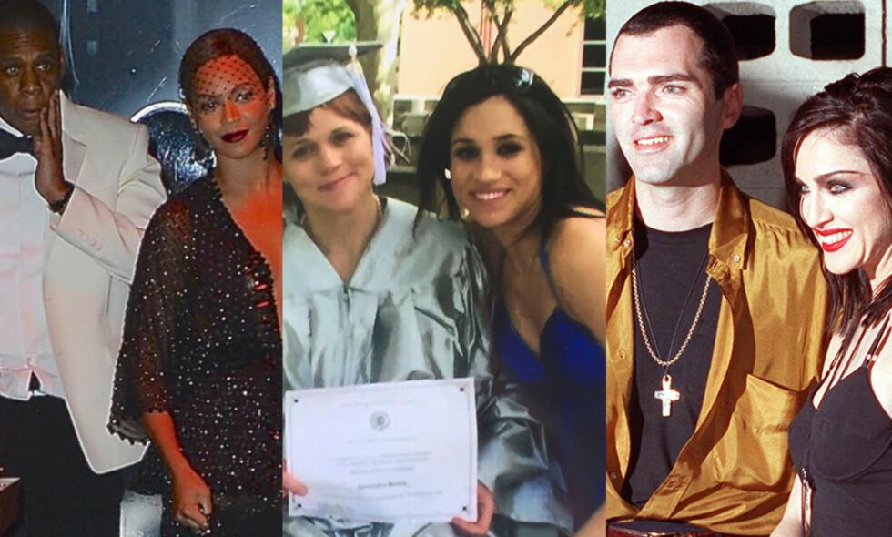 FAMILIEDRAMA: Er man superstjerne, vil store deler av livet ditt havne i mediene. Det involverer også personlige familiekonflikter, som alle på bildet ovenfor har opplevd. Foto: NTB scanpix