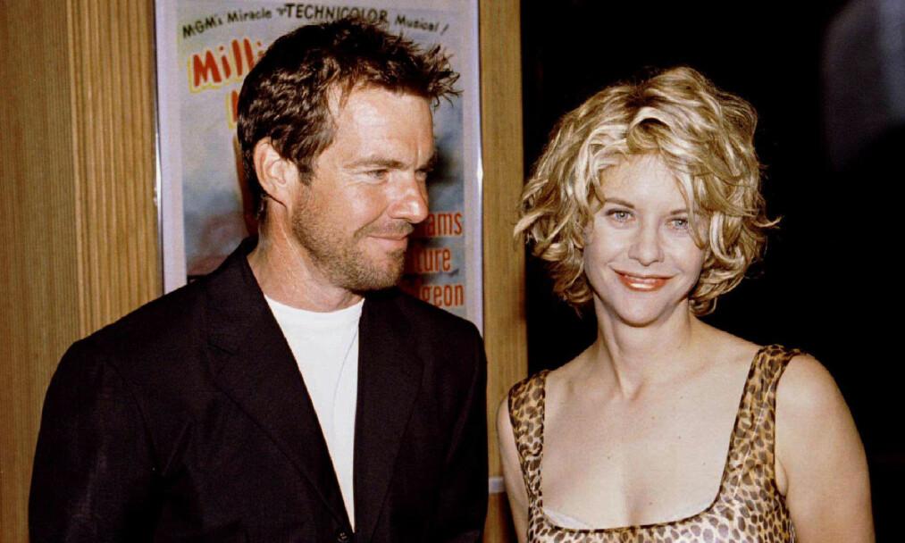 BERØMT DUO: Dennis Quaid og Meg Ryan var et av 90-tallets hotteste par. Her er de sammen på et arrangement sommeren 1996. Foto: Scanpix