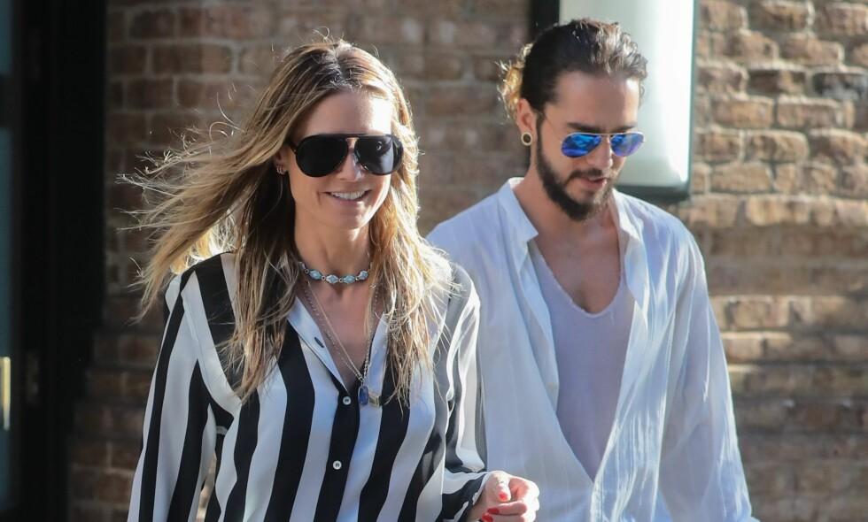 KJÆRESTER: Heidi Klum og Tom Kaulitz er stormende forelsket, til tross for aldersforskjellen på hele 16 år. Foto: NTB Scanpix
