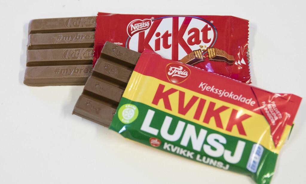 SEIER: Kvikk Lunsj har like mye rett som Kit Kat til å ha avbrekkbare sjokoladefingre. Det har EU-domstolen avgjort denne uka. Foto: Fredrik Hagen / NTB Scanpix