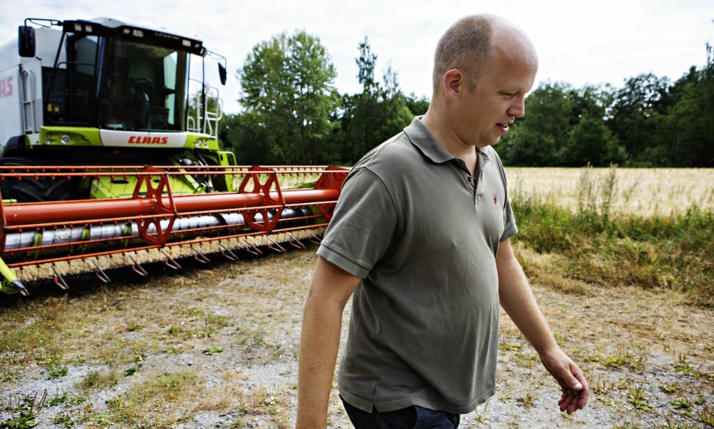 TRESKING: Vedum tresker noe av kornet når Dagbladet er på besøk, men mye av åkeren er ødelagt. Foto: Frank Karlsen / Dagbladet