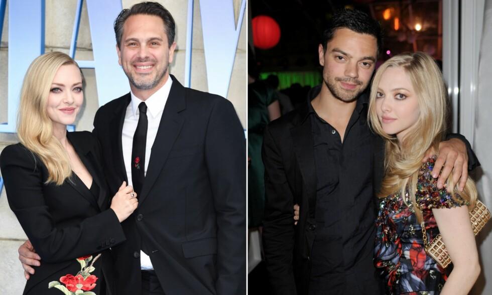 EKTEMANNEN OG EKSEN: Amanda Seyfried er i dag gift med Thomas Sadoski (t.v), men var tidligere kjæreste med skuespillerkollega Dominic Cooper (t.h). Foto: NTB Scanpix