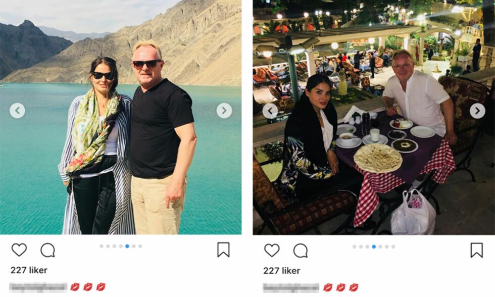 UTSATT: Som kjent er Iran det eneste landet i verden der kvinner er lovpålagt å dekke til håret. Det er også forbudt å offentlig vise kjærtegn til det motsatte kjønn. Bildene Bahareh Letnes har lagt ut på Instagram viser henne på ferie i Iran med fiskeriminister og Frp-nestleder Per Sandberg.