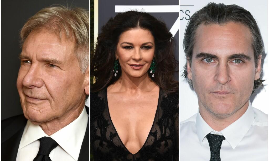 MERKET: Harrison Ford, Catherine Zeta-Jones og Joaquin Phoenix er blant kjendisene som avslører hvordan de fikk arrene sine. Foto: NTB Scanpix