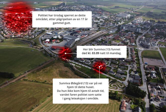 <strong><b>       NABOLAG:</strong></b> Sunniva Ødegård bodde ved den røde markeringen til høyre. Hun ble funnet død ved markeringen i midten. Tirsdag har politiet sperret av området til venstre i bildet. Foto: Frank Karlsen Grafikk: Marius Grøndahl / Dagbladet