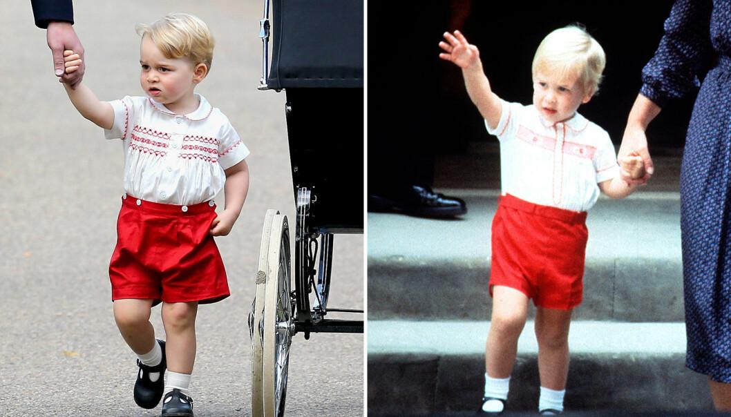 SOM TO DRÅPER VANN: Prins George (t.v.) på vei til lillesøsteren prinsesse Charlottes dåp i 2015. Pappa prins William til høyre. Bildet er tatt høsten 1984, og prins William er på vei for å besøke lillebror prins Harry for aller første gang. FOTO: NTB Scanpix