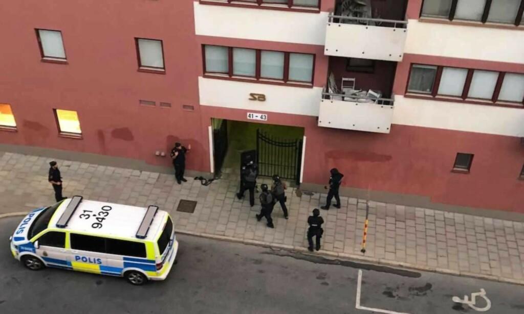 BLE SKUTT: Ved 04.00-tida natt til torsdag ble Eric Torell (20) skutt av politiet i Norrbackagatan i Vasastan i det sentrale Stockholm. Foto: Peter Nilsson/ Expressen