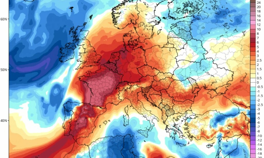 HETEBØLGEN: Slik ser Europa ut i dag, 7. august. Portugal og Spania har fortsatt de høyeste temperaturene. Foto: Tropical Tidbits / Severe Weather Europe