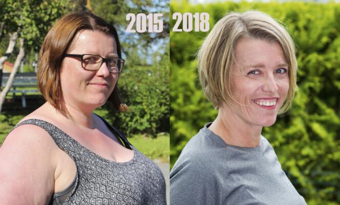 <strong>EKSTREM FORVANDLING:</strong> 55 kilo og tre år skiller disse to sommerbildene av Margaret Leirvik fra Leinstrand i Trøndelag. Hun veide 122 kilo på det meste. I dag stopper vekten på 67 kilo. FOTO : SVEND AAGE MADSEN / PRIVAT / SE OG HØR