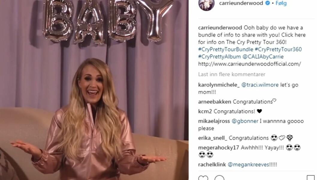 <strong>BABY:</strong> Carrie Underwood kunne i dag dele to gledelige nyheter med fansen sin. For det første skal hun ut på turné med sitt nye album, og for det andre venter hun barn. Foto: Skjermdump / Instagram