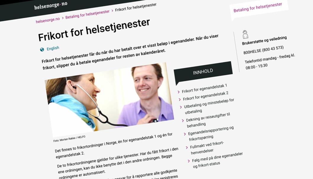 <strong>HER SJEKKER DU:</strong> Å se egenandelene sine blir en stadig mer populær helsetjeneste på nett. Skjermdump: Helsenorge.no