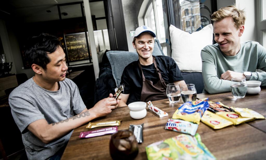 TESTPANELET: Björn Svennsson, Daniel Hasvold Jung og Fredrik Hettervik fra Michelin-restauranten Galt har testet godteri for Dagbladet.