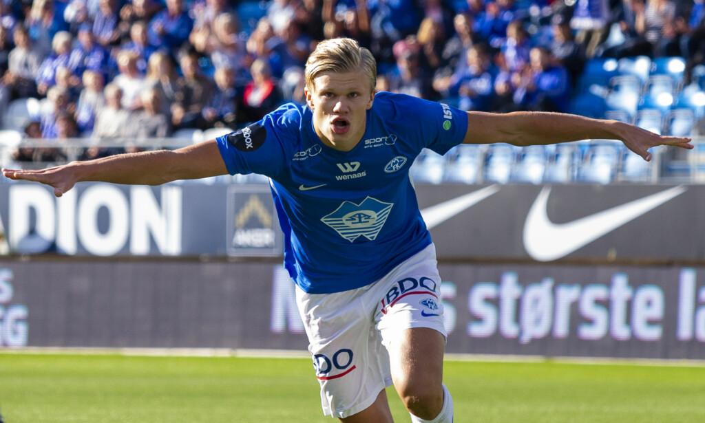I FORM: Erling Braut Håland kunne juble for ny scoring i Molde-drakta da Brann ble nedsablet i går. Foto: Svein Ove Ekornesvåg / NTB scanpix