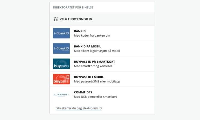 <strong>INNLOGGING:</strong> For å kunne sjekke egenandelene dine på nett, må du logge deg inn med Bank-id eller lignende. Foto: Skjermdump / helsenorge.no