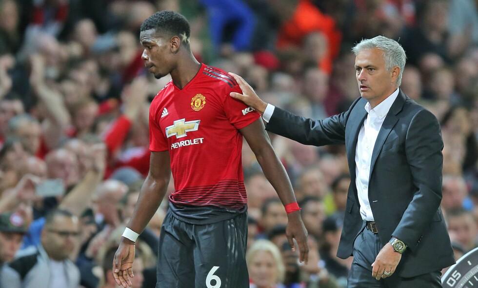 SLÅR FORHOLDET SPREKKER? José Mourinho skal ikke være fornøyd med at Paul Pogba sår tvil om forholdet deres i engelsk presse. Foto: Magi Haroun/REX/Shutterstock/NTB Scanpix