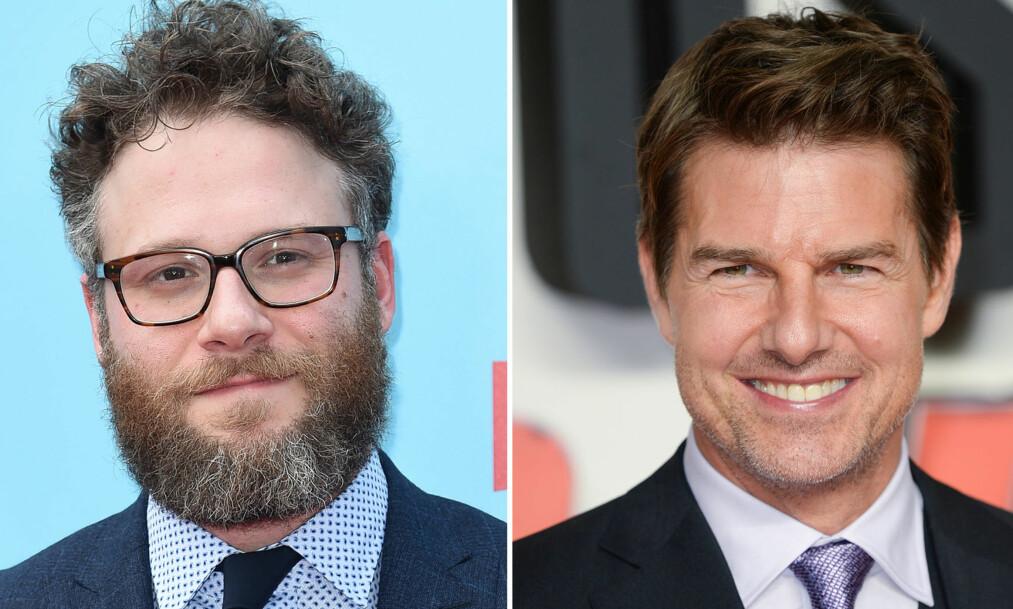 <strong>BISARR HISTORIE:</strong> Komiker Seth Rogen hevder at det var han som lærte filmstjernen Tom Cruise at man kan se på pornografi på Internett. Foto: NTB scanpix