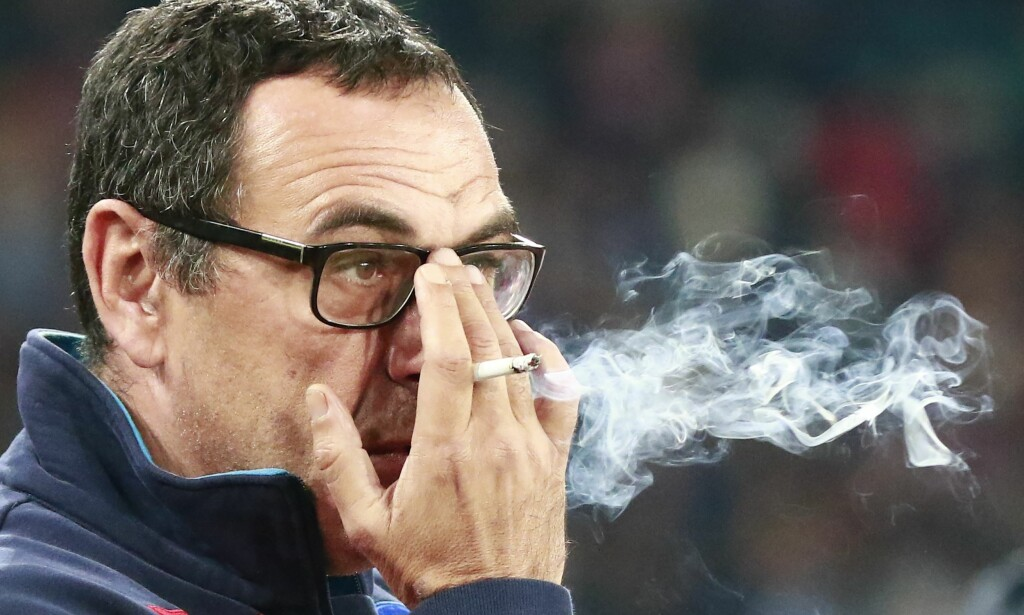 STORRØYKER: Chelsea-manager Maurizio Sarri. Foto: AFP PHOTO / CARLO HERMANN / NTB Scanpix