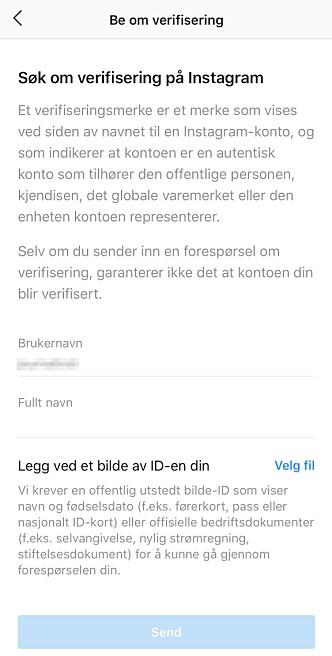 <strong>ENKELT SKJEMA:</strong> Slik ser det nye verifikasjonsskjemaet til Instagram ut. Skjermbilde: Kirsti Østvang