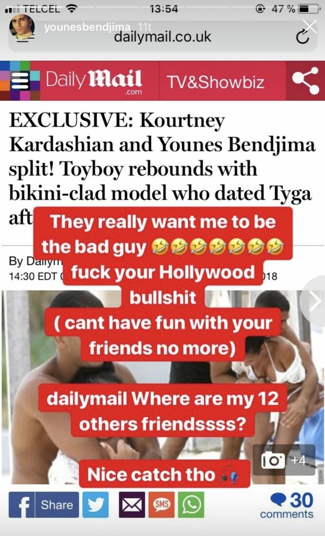 <strong>IRRITERT:</strong> Younes Bendjima mener de utenlandske tabliodene har fremstilt bildene av ham og Jordan Ozuna feil. Foto: Skjermdump, Instagram