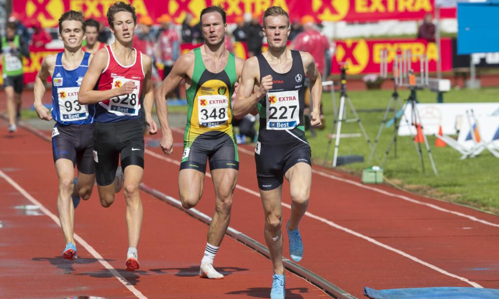 TIL FINALE: Filip Ingebrigtsen vant forsøksheatet på 800 meter. Finalen går søndag. Foto: Vidar Ruud / NTB scanpix