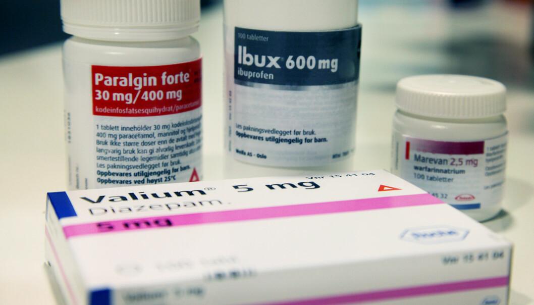 A-PREPARATER PÅ AVVEIE: A-preparater er narkotiske stoffer som for eksempel morfin, og krever egen resept. På dette bildet ser man Valium og Paralgin Forte, typiske B-preparater. Foto: Lisa Wisløff