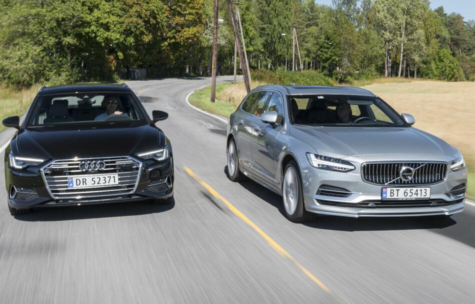 TO BREDE OG TØFFE: Audi er tilbake med ny A6, men stasjonsvognmesteren har fått konkurranse fra uventet hold. Foto: Jamieson Pothecary.