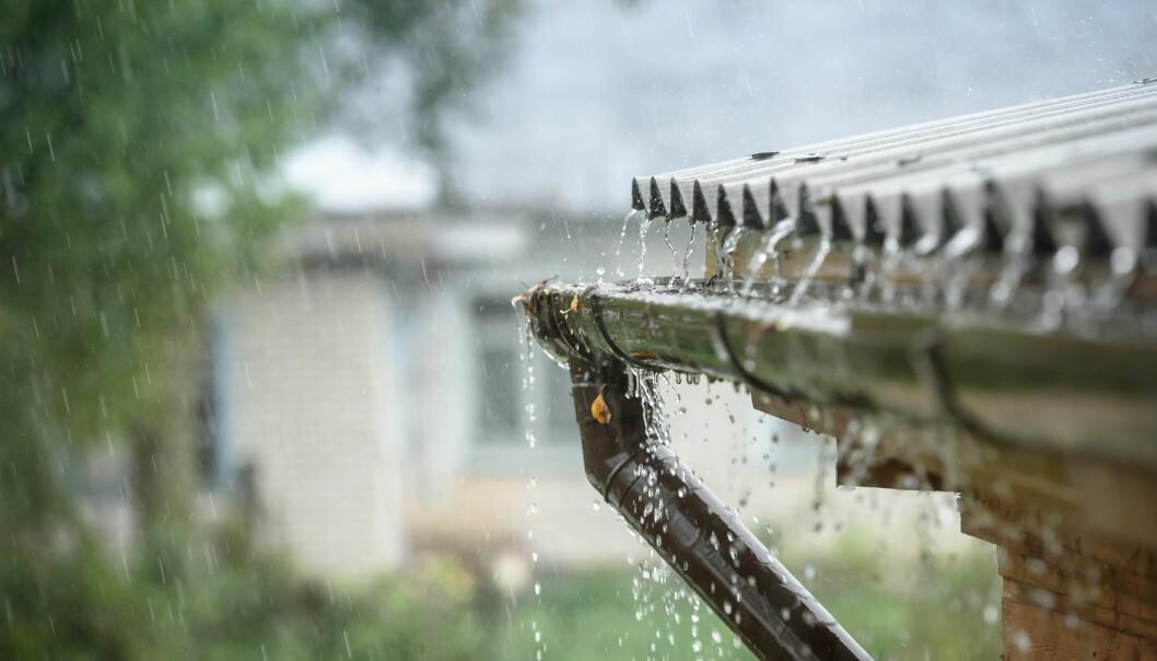 <strong>TAKVANN:</strong> Når vannet renner via taket og takrennen kan det føre med seg forurensing. Foto: Shutterstock.