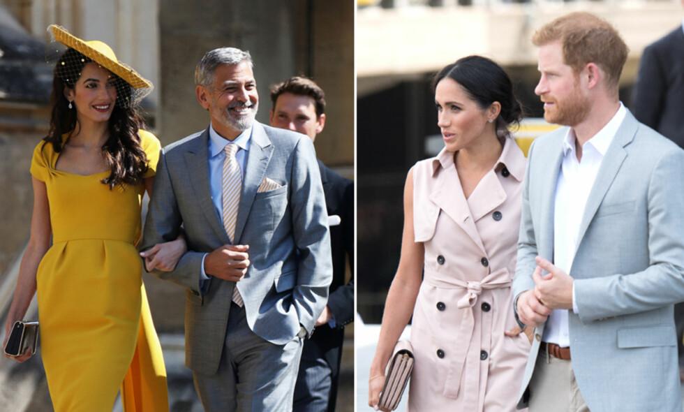 GODE VENNER: George og Amal Clooney skal ha invitert prins Harry og hertuginne Meghan med på ferie. Foto: NTB Scanpix