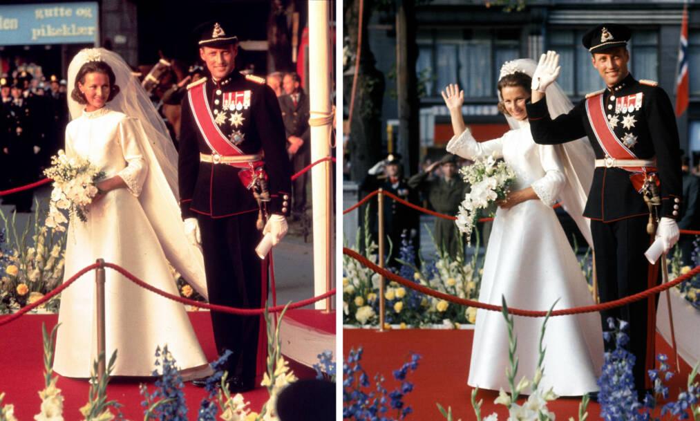 KONGELIG BRYLLUP: Torsdag 29. august 1968 fikk kronprins Harald sin store kjærlighet - Sonja Haraldsen. Vielsen ble holdt i Oslo Domkirke. Her vinker det nygifte paret til folkemassen som hadde samlet seg utenfor kirken i Oslo sentrum. FOTO: NTB Scanpix