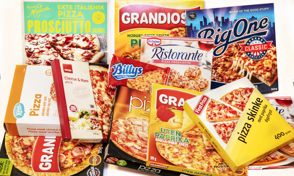 SKINKEPIZZA: Pizzaene i testen er fra de tre store dagligvarekjedene, og koster fra 10 til 64,50 kroner stykket.
