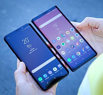 <strong>NESTEN LIKE STORE:</strong> Det er ikke mye som skiller Galaxy S9+ og Galaxy Note 9 i størrelse. Sistnevnte kan mer, men koster også deretter. Foto: Ole Petter Baugerød Stokke