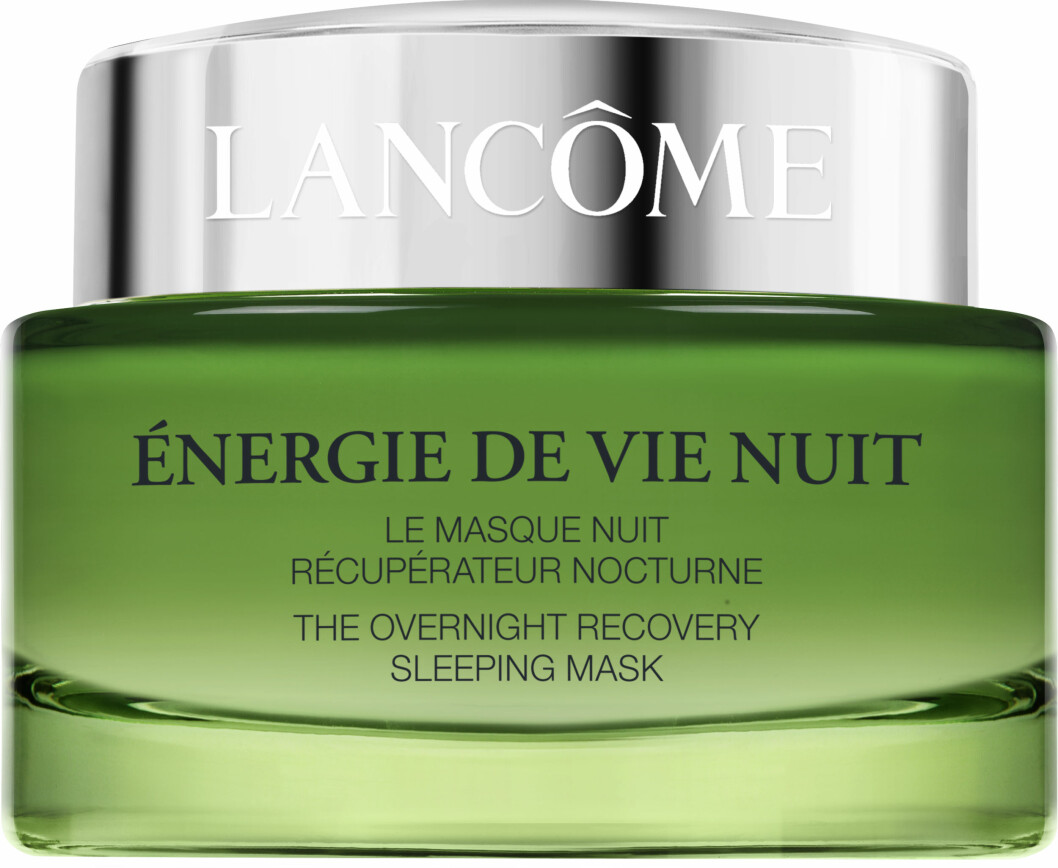 For stresset hud (kr 600, Lancôme, Énergie de Vie Nuit, The Overnight Recovery Sleeping Mask).