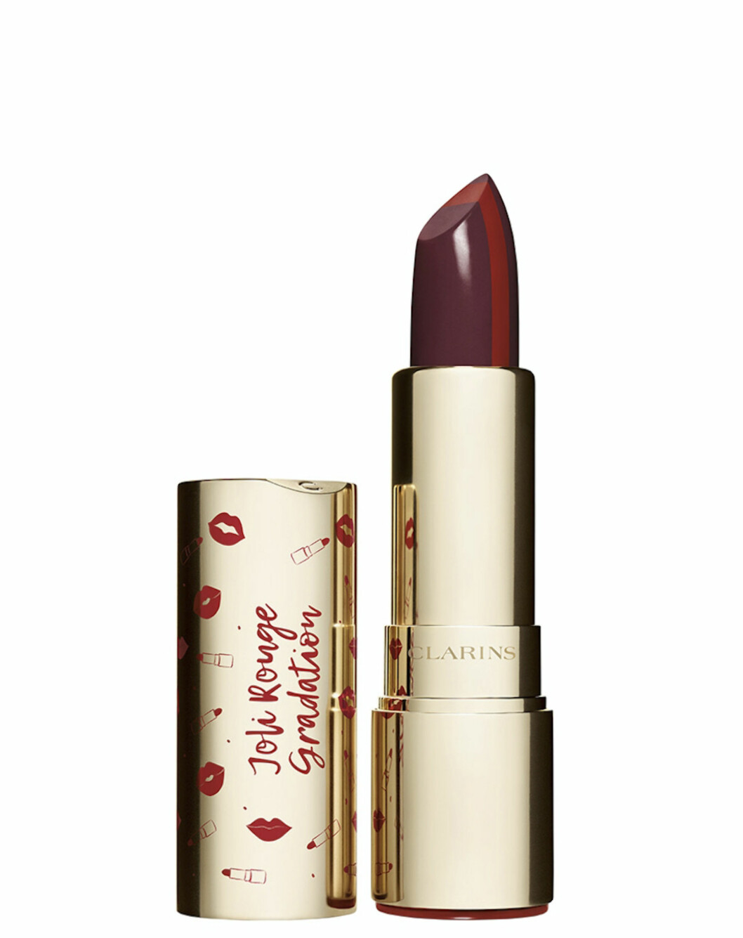 Burgunder og rød leppestift (kr 230, Clarins, Joli Rouge Gradation).