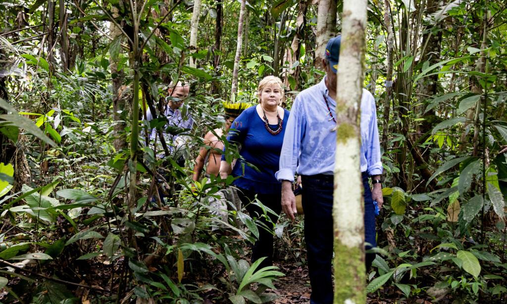 I REGNSKOGEN: Statsminister Erna Solberg sammen med Colombias president Juan Manuel Santos i Amazonas-regnskogen på grensa mellom Brasil og Colombia, på den siste av en lang rekke besøk av norske statsråder til regnskogen. Brasil er verdens største regnskogland og et av de viktigste samarbeidslandene for Norges internasjonale klima- og skogsatsing. Foto: Tore Meek / NTB scanpix
