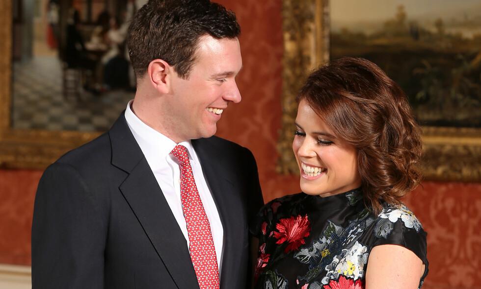 GIFTEKLARE: Prinsesse Eugenie og hennes utkårede Jack Brooksbank skal i oktober endelig bli mann og kone. Foto: NTB Scanpix