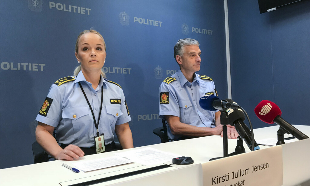 CANCELLATION: Police judge Kirsti Jullum Jensen and Lonely Officer Andreas Nilsen, during the press conference in connection with a man who was arrested in July 1998 and accused of the so-called Sjøvegan murder of Marie-Louise Bendiktsen. Photo: Jørn Nordmann Pedersen / Northern Lights / NTB scanpix