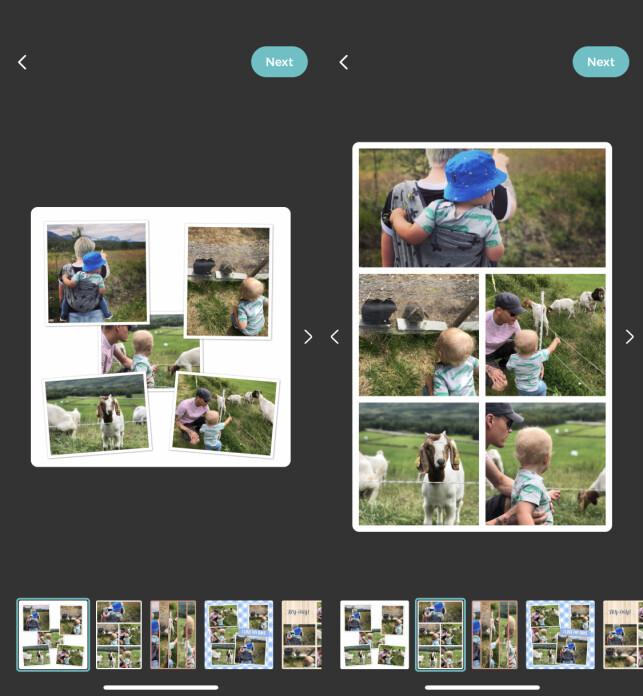 """VELG LAYOUT: Du ha flere valgmuligheter hva gjelder layouten på fotokollasjen. Enten et fast oppsett med rutenett, eller så kan du plassere de utover """"tilfeldig"""". Skjermbilde: Kirsti Østvang"""