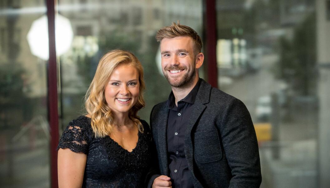 RADARPAR: Helene Olafsen og Stian Blipp, her fotografert torsdag i Bergen på TV 2s høstlansering, leder nye «Senkveld» til høsten. Helene hadde ikke trodd hun skulle ende med dette. Foto: TV 2