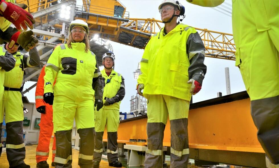 Mot produksjonsstart i 2019: Konserndirektør i Equinor, Margareth Øvrum, besøker Johan Sverdrup-feltet tirsdag. Foto: Finansavisen
